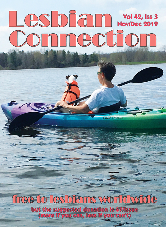 LC Nov/Dec 2019 cover - photo of lesbian in kayak with dog