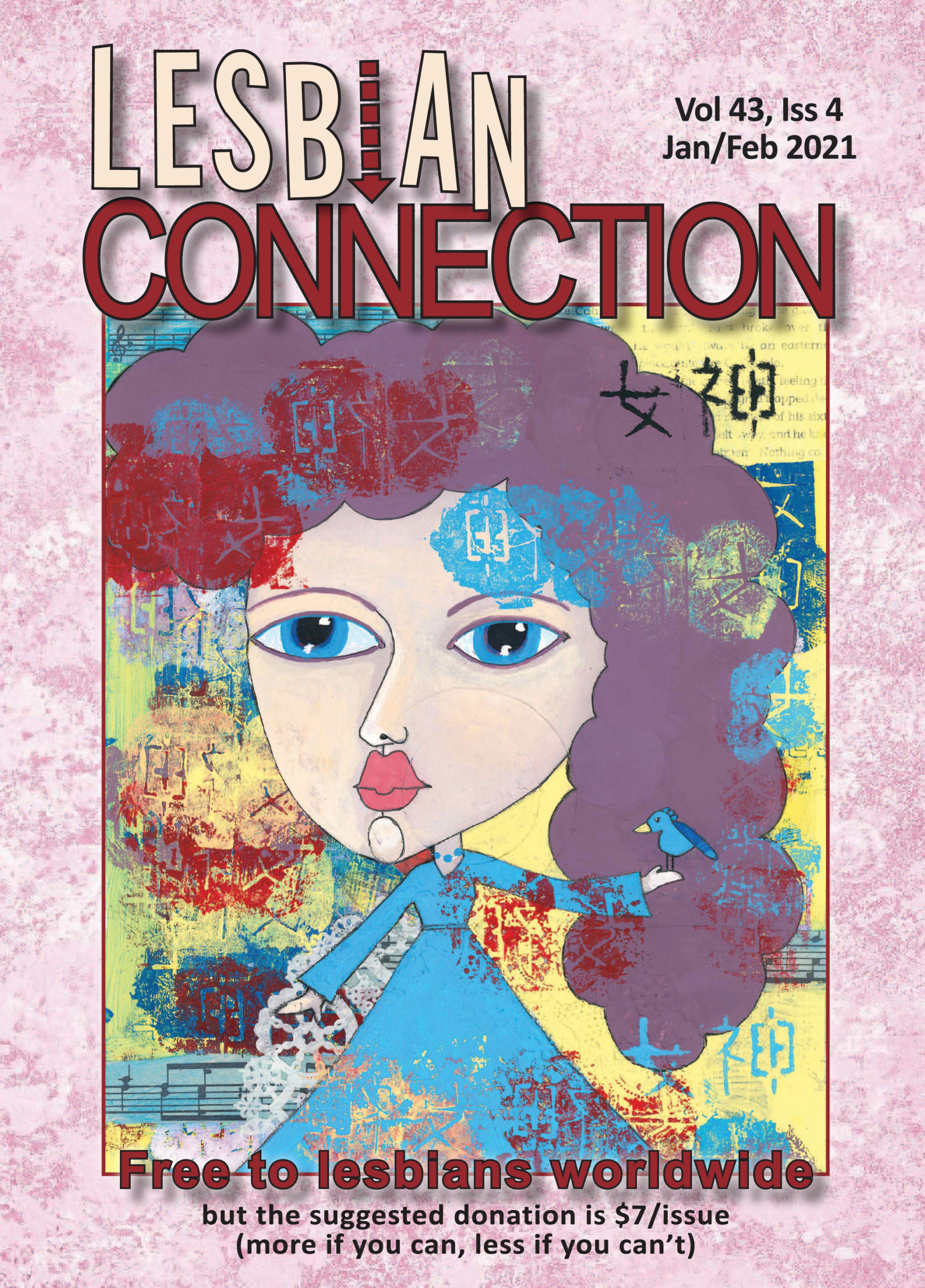 LC Cover Jan/Feb 2021 - cartoon female w/ large blue eyes & dress faces us with an abstract-multicolored background