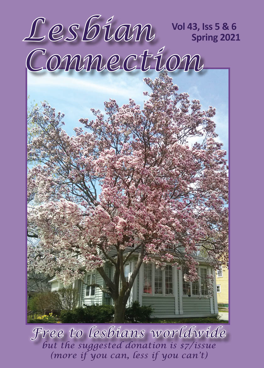 Spring 2021; Mar-Jun; Vol. 43, Issue 5 &6; Purple cover with a photo of the LC office in the background & the magnolia tree, in full bloom, in the foreground.